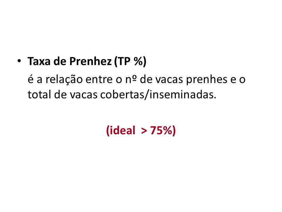 Taxa de Prenhez (TP %) é a relação entre o nº de vacas prenhes e o total de vacas cobertas/inseminadas.