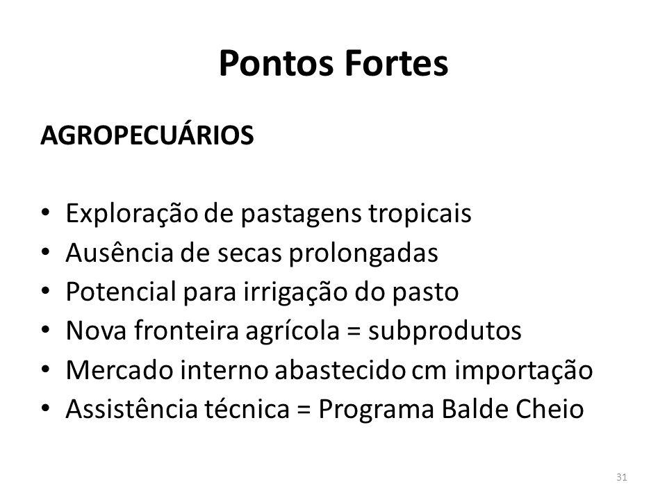 Pontos Fortes AGROPECUÁRIOS Exploração de pastagens tropicais
