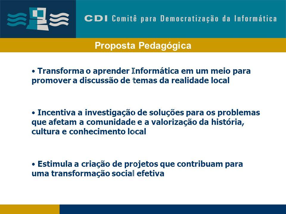 Proposta Pedagógica Transforma o aprender Informática em um meio para promover a discussão de temas da realidade local.