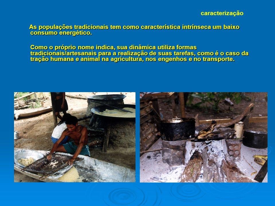 caracterização As populações tradicionais tem como característica intrínseca um baixo consumo energético.
