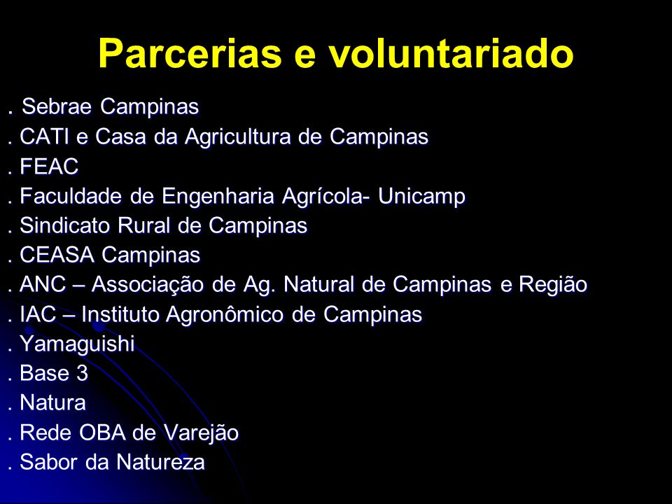 Parcerias e voluntariado