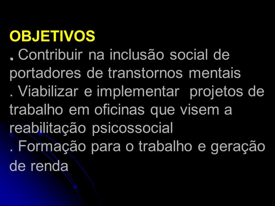 OBJETIVOS . Contribuir na inclusão social de portadores de transtornos mentais .