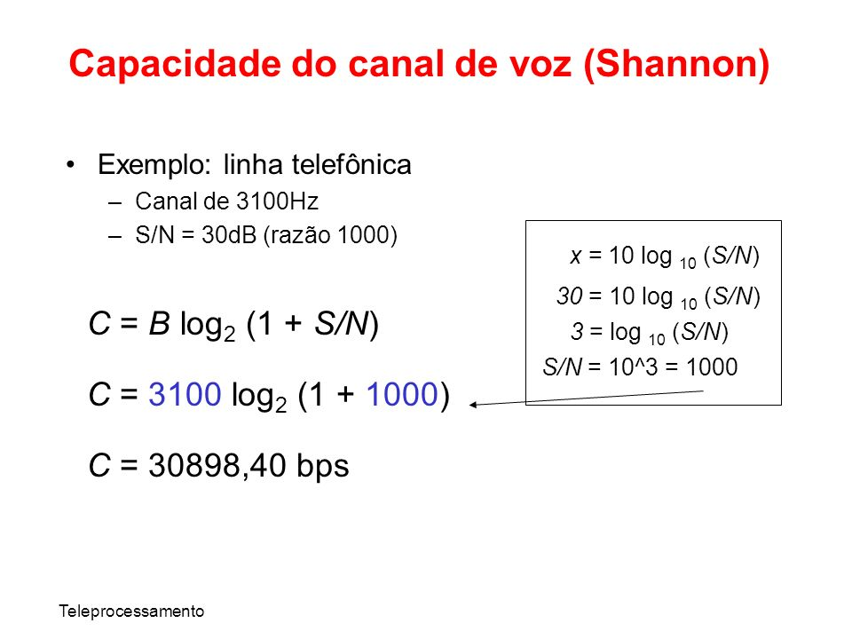 Capacidade do canal de voz (Shannon)