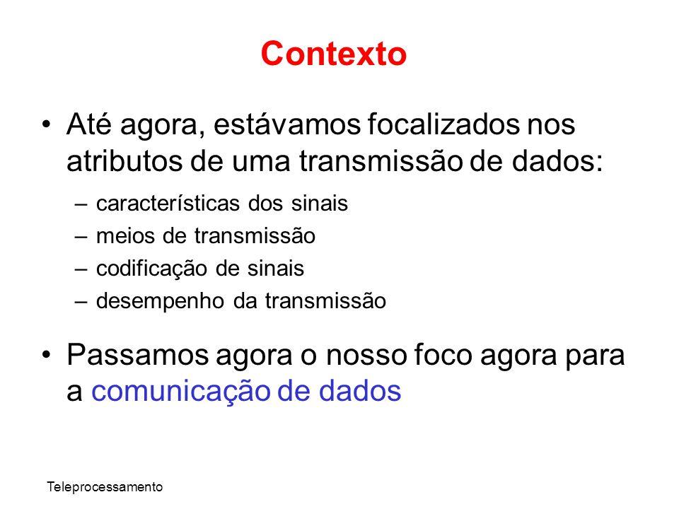ContextoAté agora, estávamos focalizados nos atributos de uma transmissão de dados: características dos sinais.