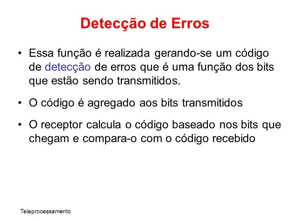 Detecção de Erros Essa função é realizada gerando-se um código de detecção de erros que é uma função dos bits que estão sendo transmitidos.