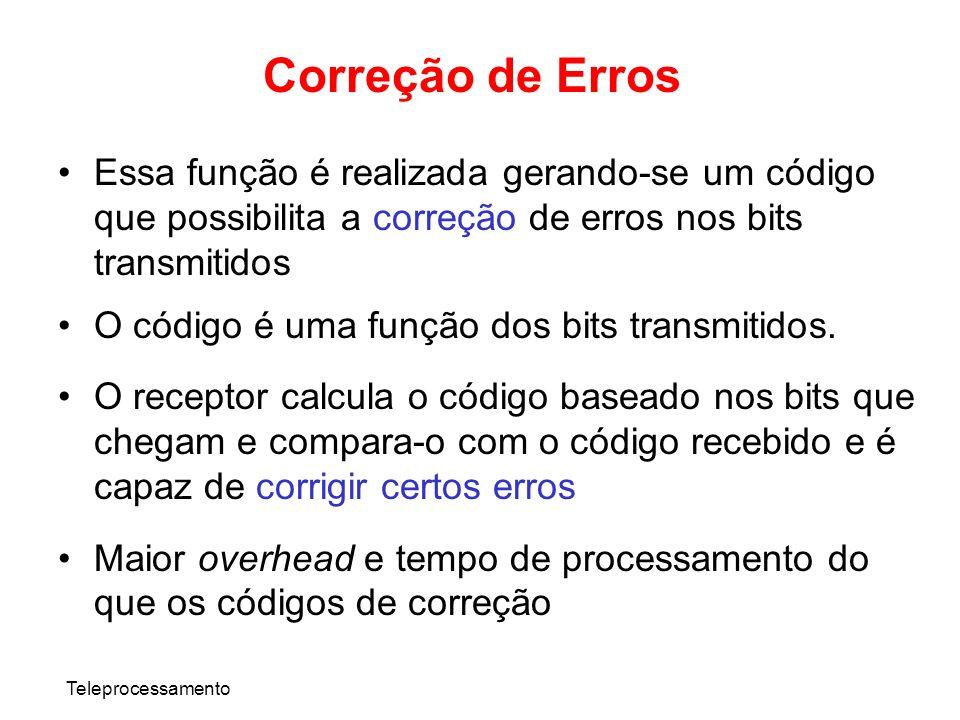 Correção de ErrosEssa função é realizada gerando-se um código que possibilita a correção de erros nos bits transmitidos.