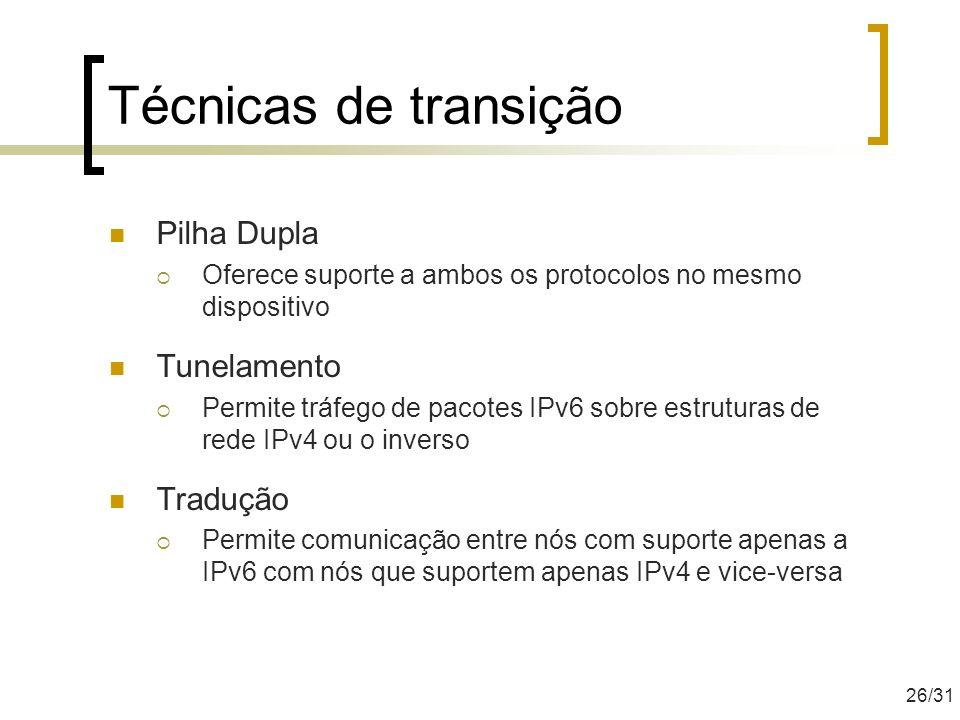 Técnicas de transição Pilha Dupla Tunelamento Tradução