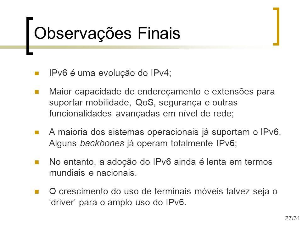 Observações Finais IPv6 é uma evolução do IPv4;
