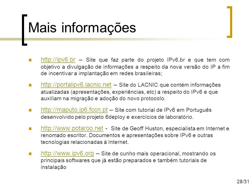 Mais informações