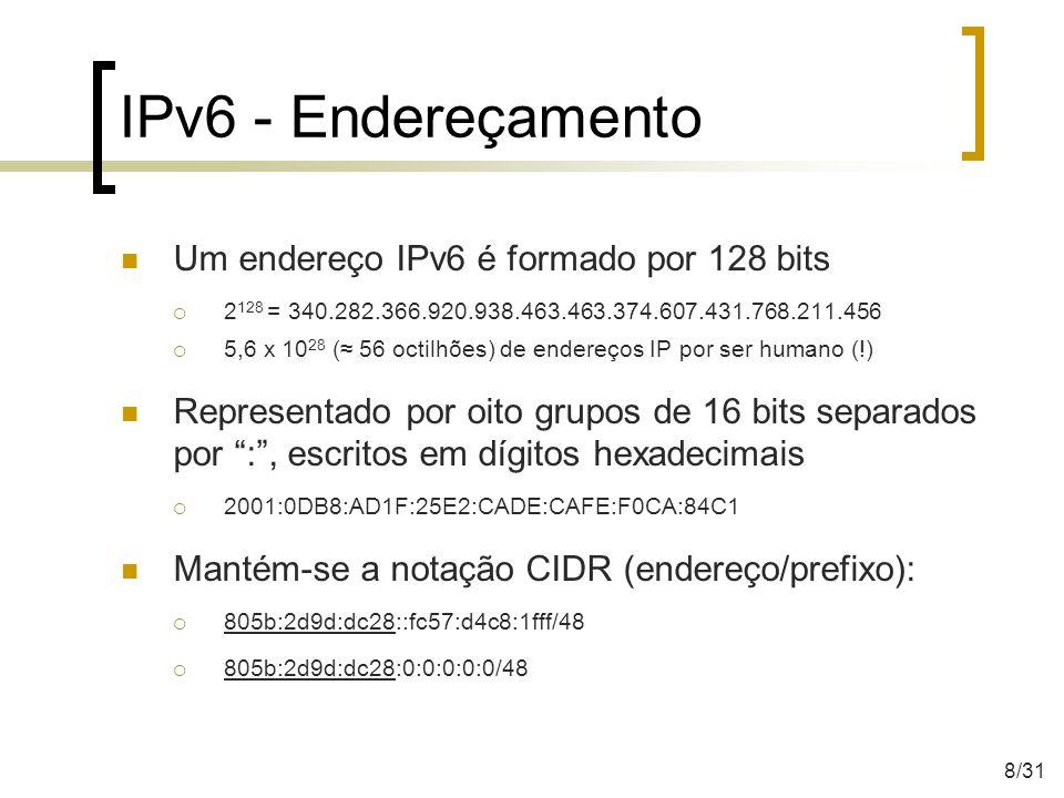 IPv6 - Endereçamento Um endereço IPv6 é formado por 128 bits