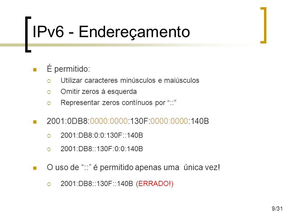 IPv6 - Endereçamento É permitido: