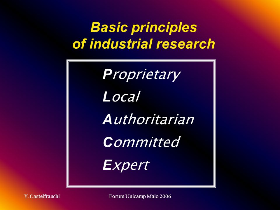 Basic principles of industrial research