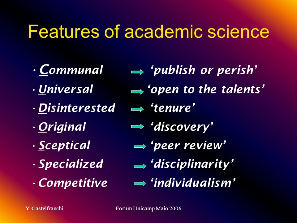 Features of academic science
