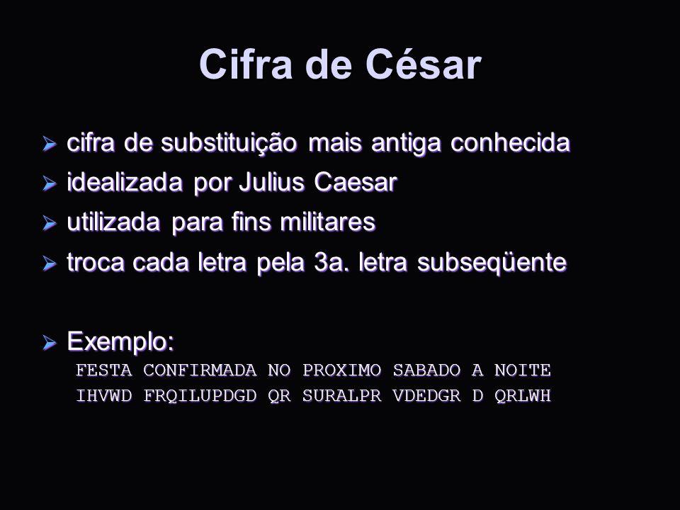 Cifra de César cifra de substituição mais antiga conhecida