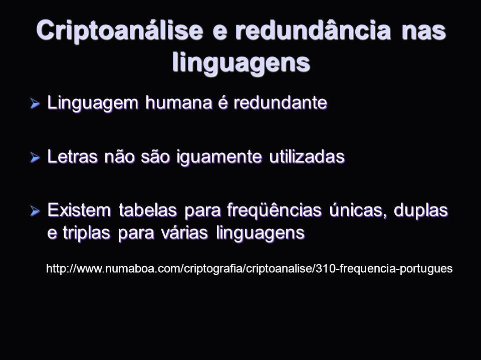 Criptoanálise e redundância nas linguagens