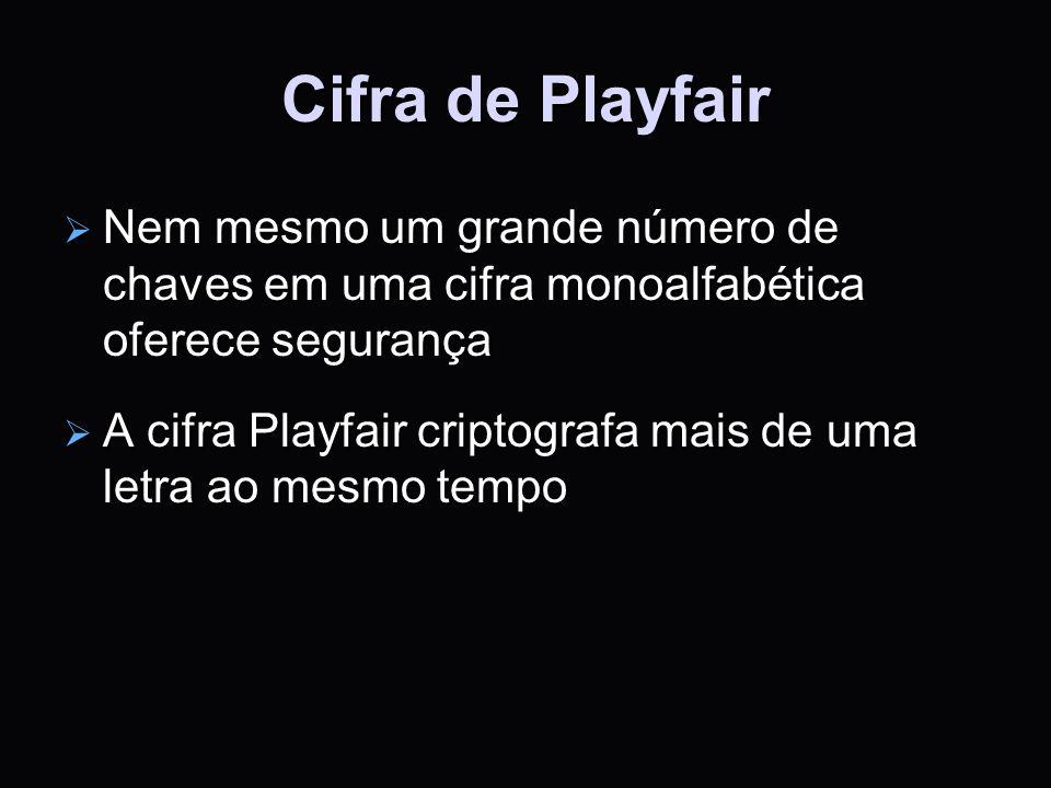 Cifra de Playfair Nem mesmo um grande número de chaves em uma cifra monoalfabética oferece segurança.