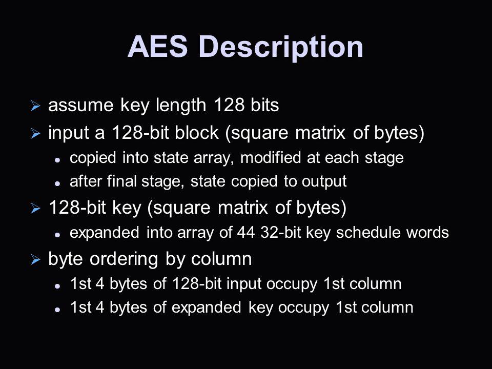 AES Description assume key length 128 bits