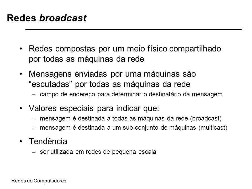 Redes broadcast Redes compostas por um meio físico compartilhado por todas as máquinas da rede.