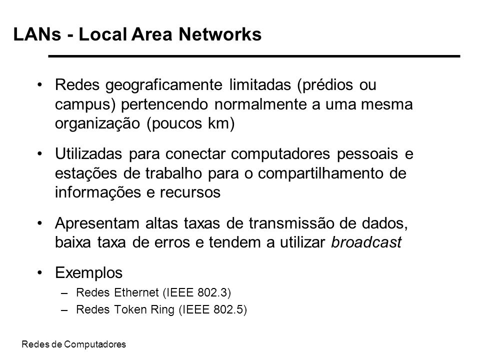 LANs - Local Area Networks