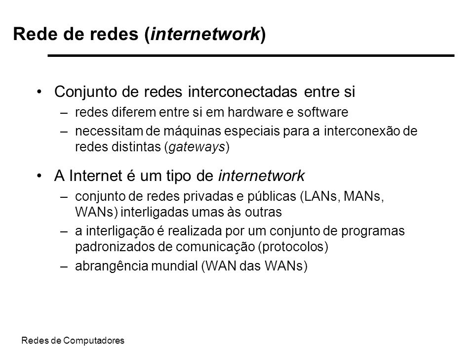 Rede de redes (internetwork)
