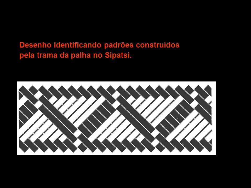 Desenho identificando padrões construídos pela trama da palha no Sipatsi.