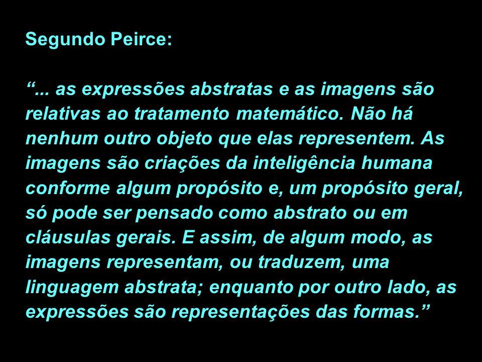 Segundo Peirce: ... as expressões abstratas e as imagens são relativas ao tratamento matemático.