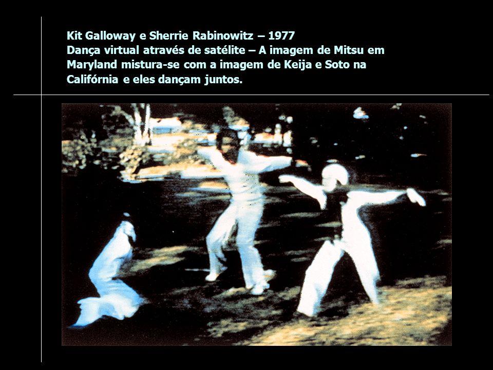 Kit Galloway e Sherrie Rabinowitz – 1977 Dança virtual através de satélite – A imagem de Mitsu em Maryland mistura-se com a imagem de Keija e Soto na Califórnia e eles dançam juntos.
