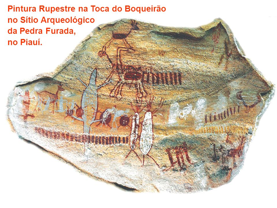 Pintura Rupestre na Toca do Boqueirão no Sítio Arqueológico da Pedra Furada, no Piauí.