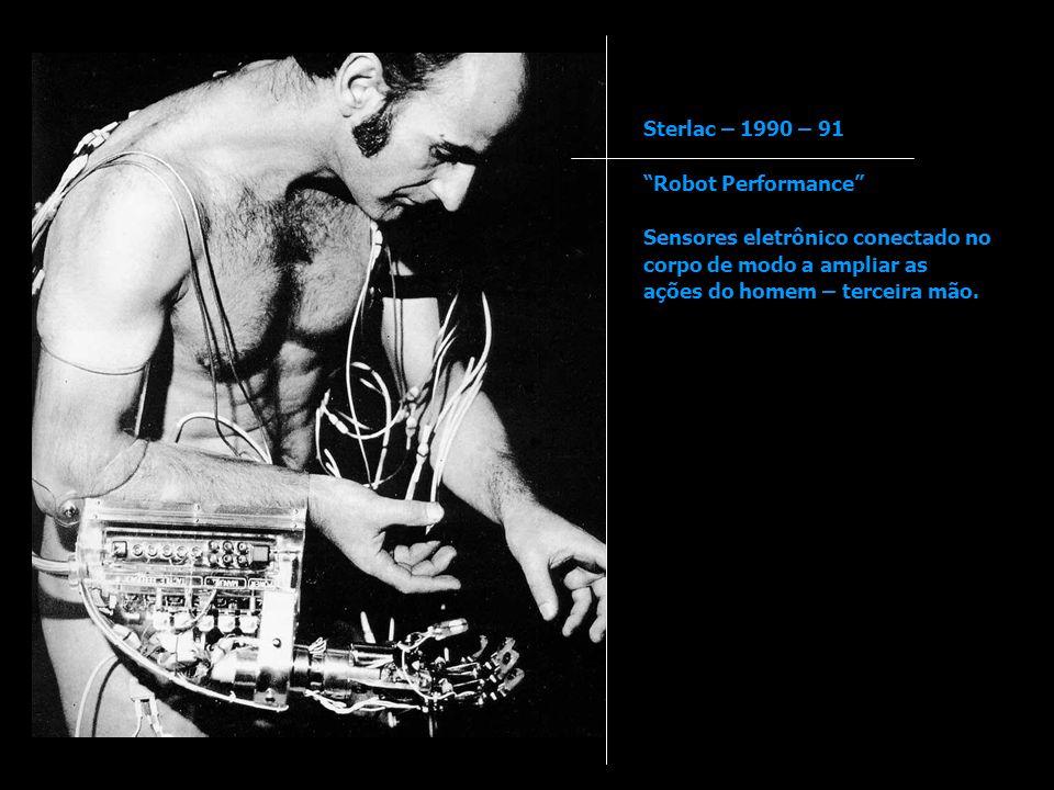 Sterlac – 1990 – 91 Robot Performance Sensores eletrônico conectado no corpo de modo a ampliar as ações do homem – terceira mão.