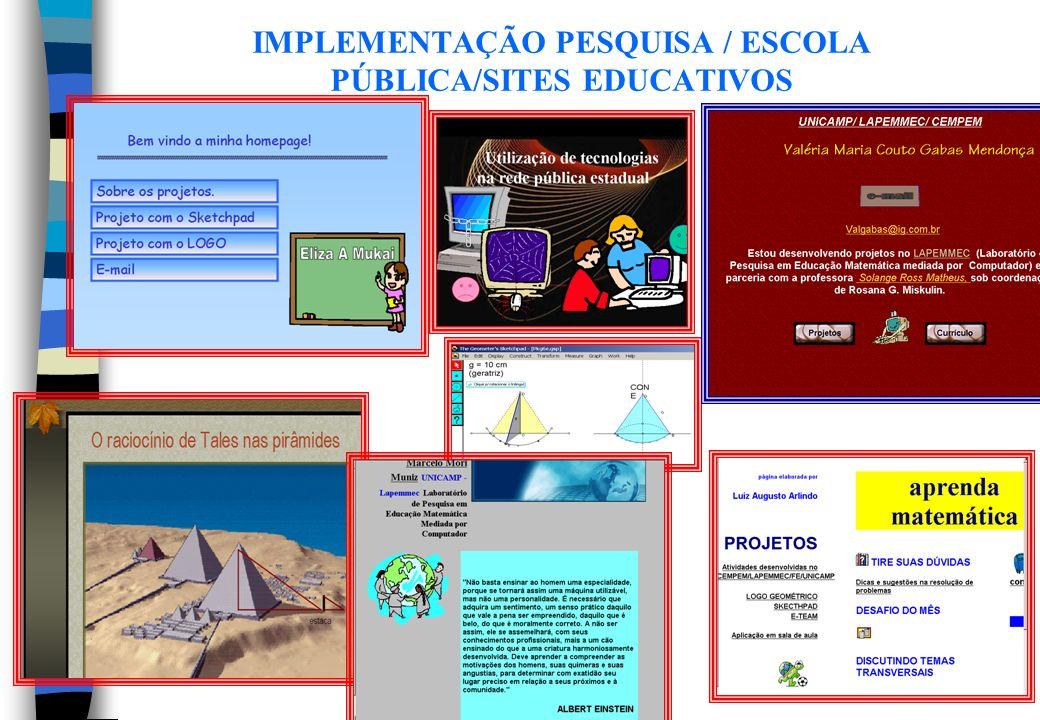 IMPLEMENTAÇÃO PESQUISA / ESCOLA PÚBLICA/SITES EDUCATIVOS