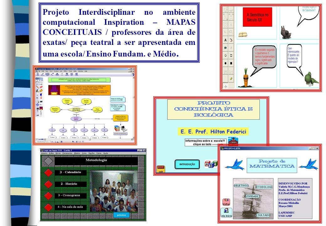 Projeto Interdisciplinar no ambiente computacional Inspiration – MAPAS CONCEITUAIS / professores da área de exatas/ peça teatral a ser apresentada em uma escola/ Ensino Fundam.