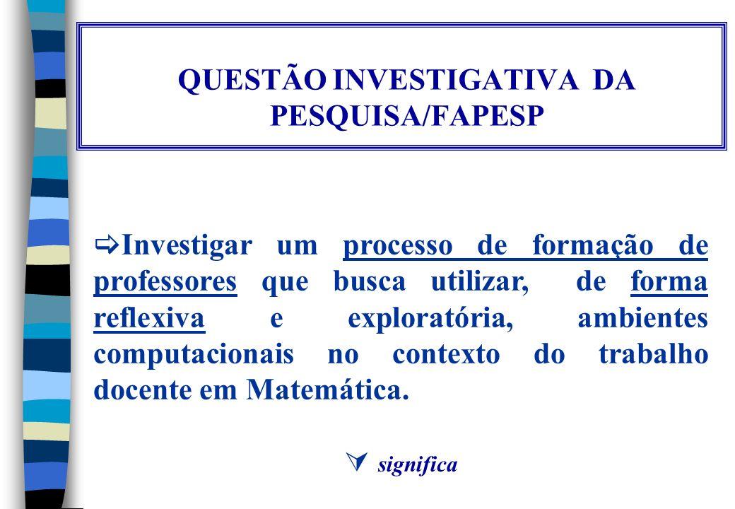 QUESTÃO INVESTIGATIVA DA PESQUISA/FAPESP