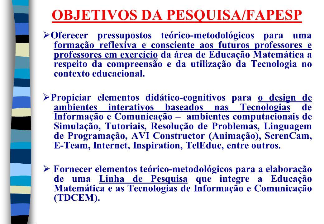 OBJETIVOS DA PESQUISA/FAPESP