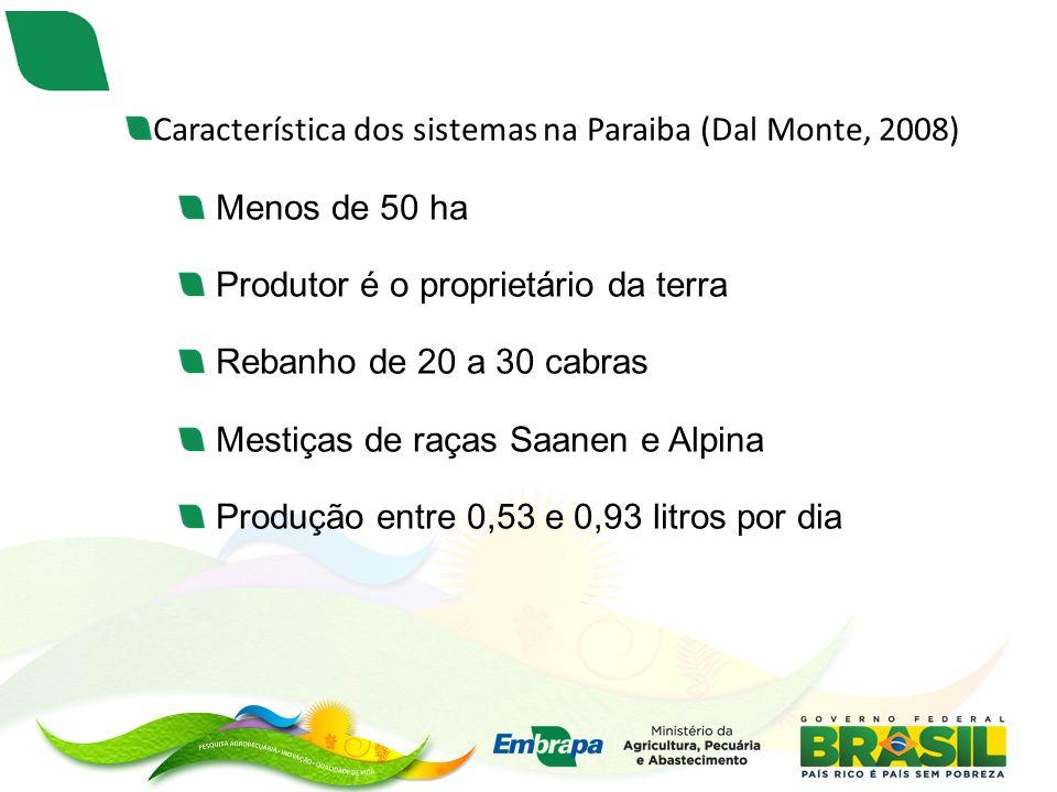 Característica dos sistemas na Paraiba (Dal Monte, 2008)