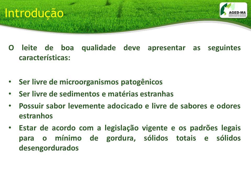 Introdução O leite de boa qualidade deve apresentar as seguintes características: Ser livre de microorganismos patogênicos.
