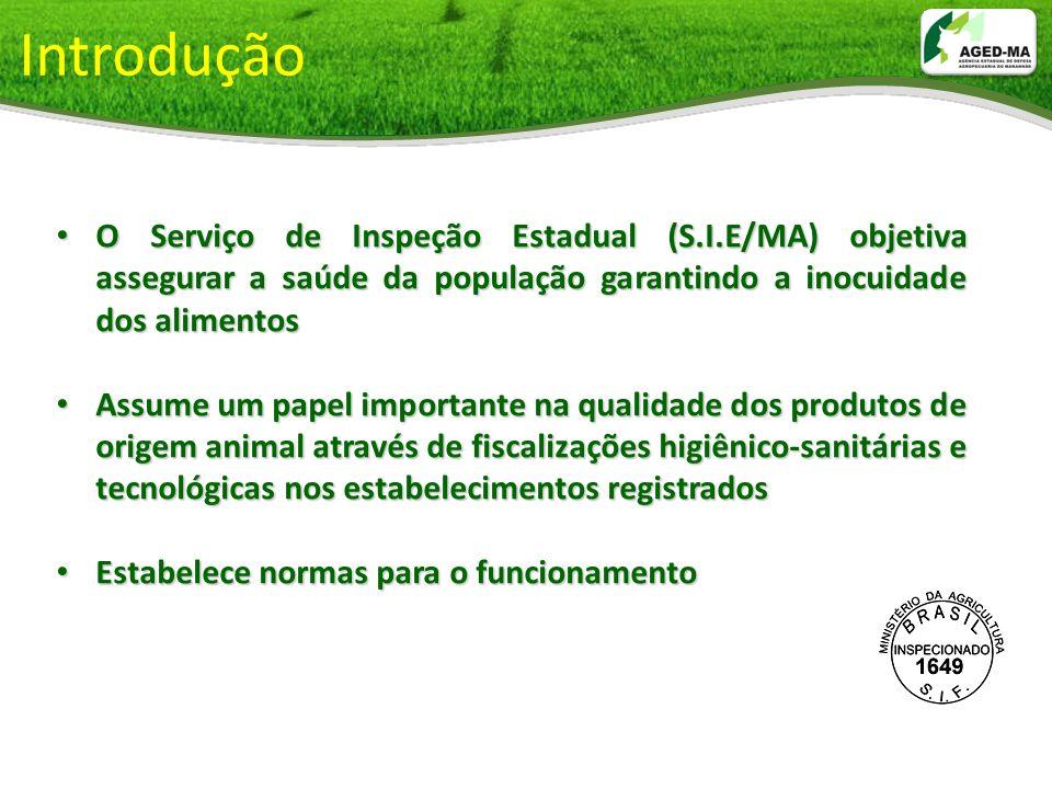 Introdução O Serviço de Inspeção Estadual (S.I.E/MA) objetiva assegurar a saúde da população garantindo a inocuidade dos alimentos.