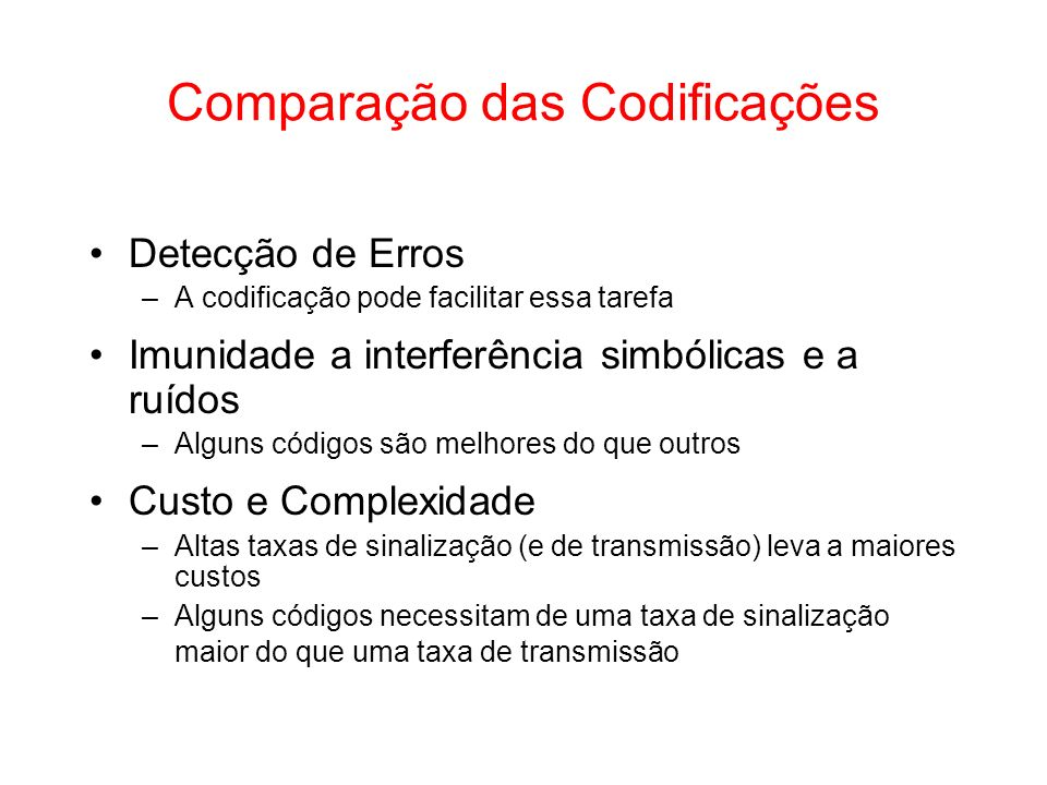 Comparação das Codificações