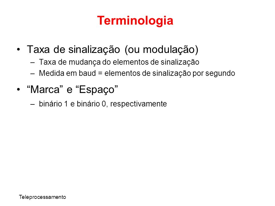 Terminologia Taxa de sinalização (ou modulação) Marca e Espaço