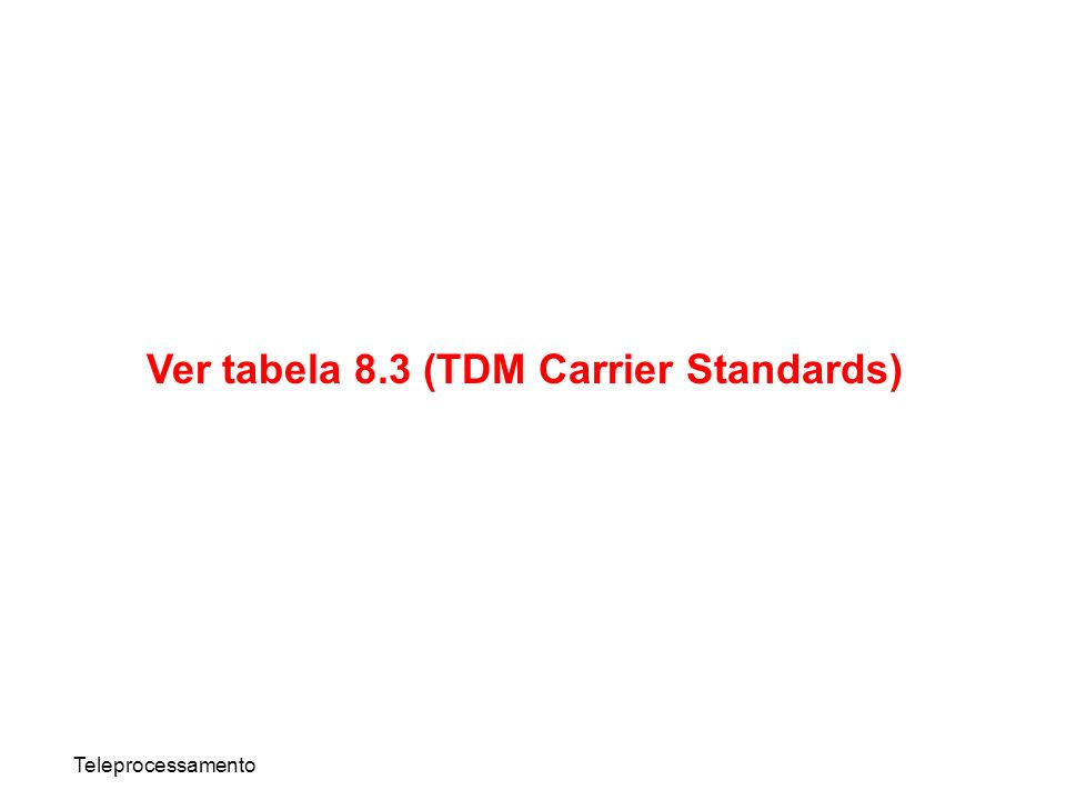 Ver tabela 8.3 (TDM Carrier Standards)
