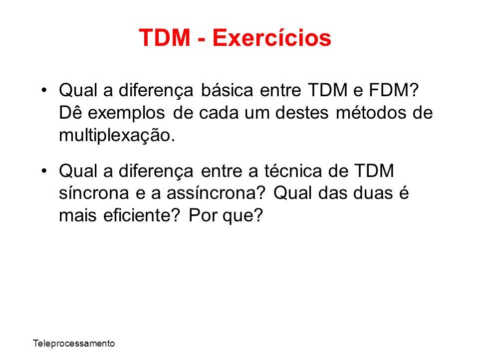 TDM - Exercícios Qual a diferença básica entre TDM e FDM Dê exemplos de cada um destes métodos de multiplexação.