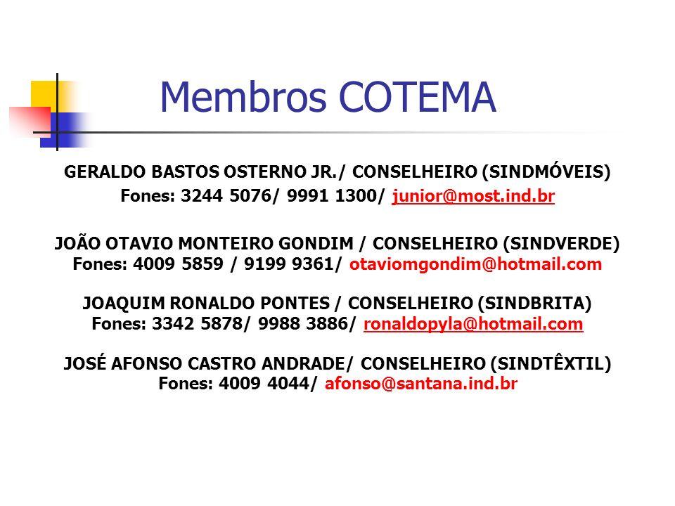 Membros COTEMA GERALDO BASTOS OSTERNO JR./ CONSELHEIRO (SINDMÓVEIS)