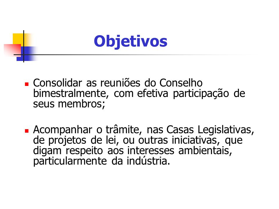 Objetivos Consolidar as reuniões do Conselho bimestralmente, com efetiva participação de seus membros;