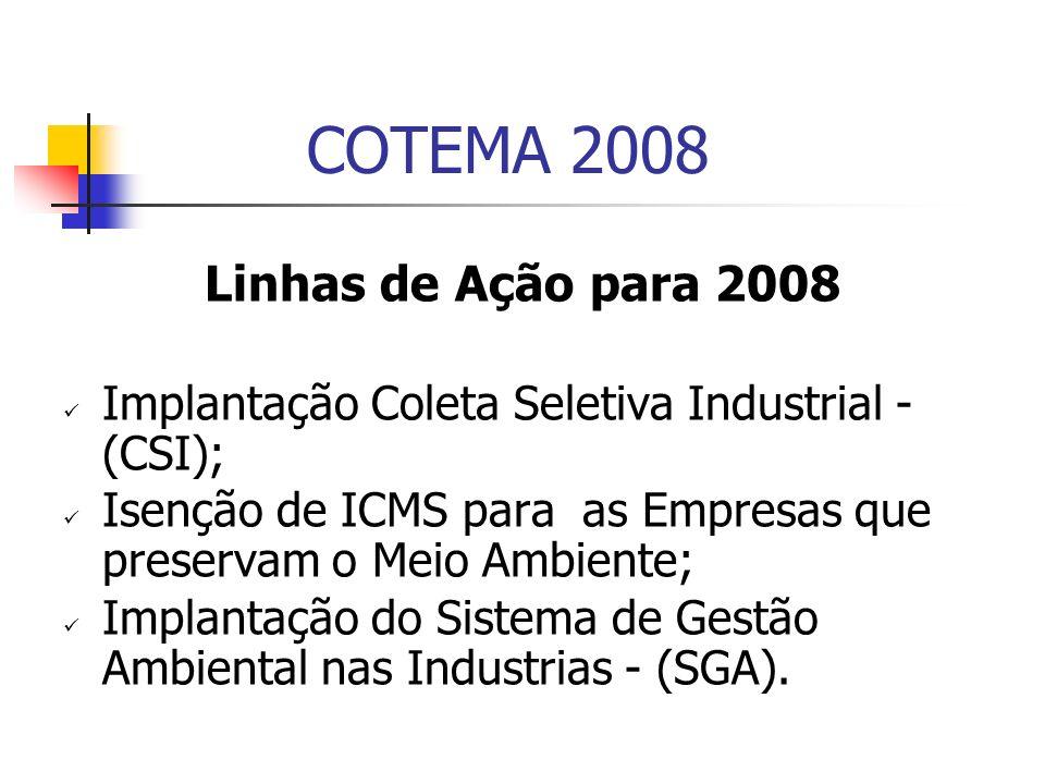 COTEMA 2008 Linhas de Ação para 2008