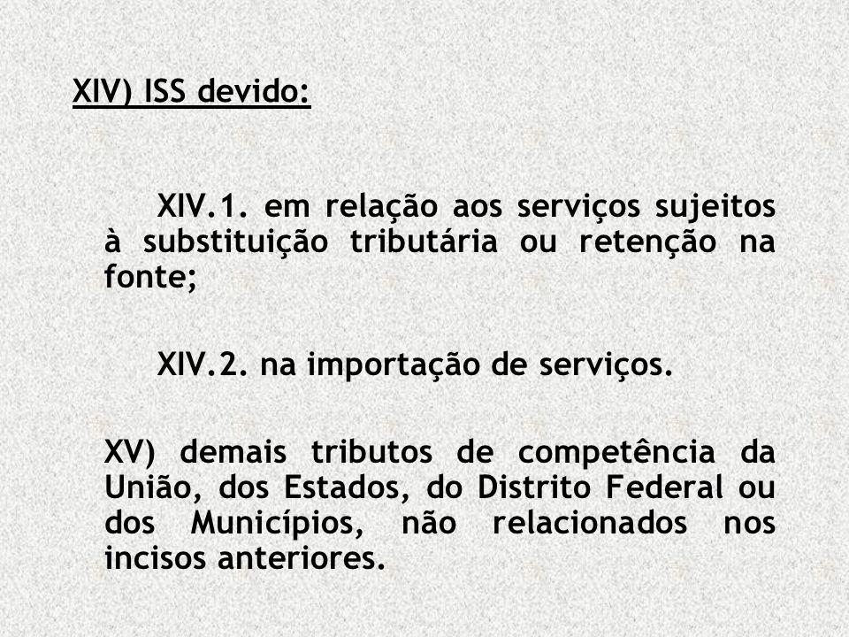 XIV) ISS devido: XIV.1. em relação aos serviços sujeitos à substituição tributária ou retenção na fonte;