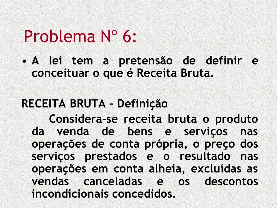 Problema Nº 6: A lei tem a pretensão de definir e conceituar o que é Receita Bruta. RECEITA BRUTA – Definição.