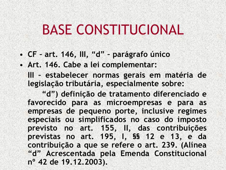 BASE CONSTITUCIONAL CF – art. 146, III, d – parágrafo único