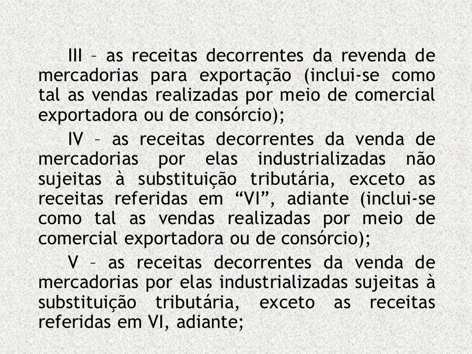 III – as receitas decorrentes da revenda de mercadorias para exportação (inclui-se como tal as vendas realizadas por meio de comercial exportadora ou de consórcio);