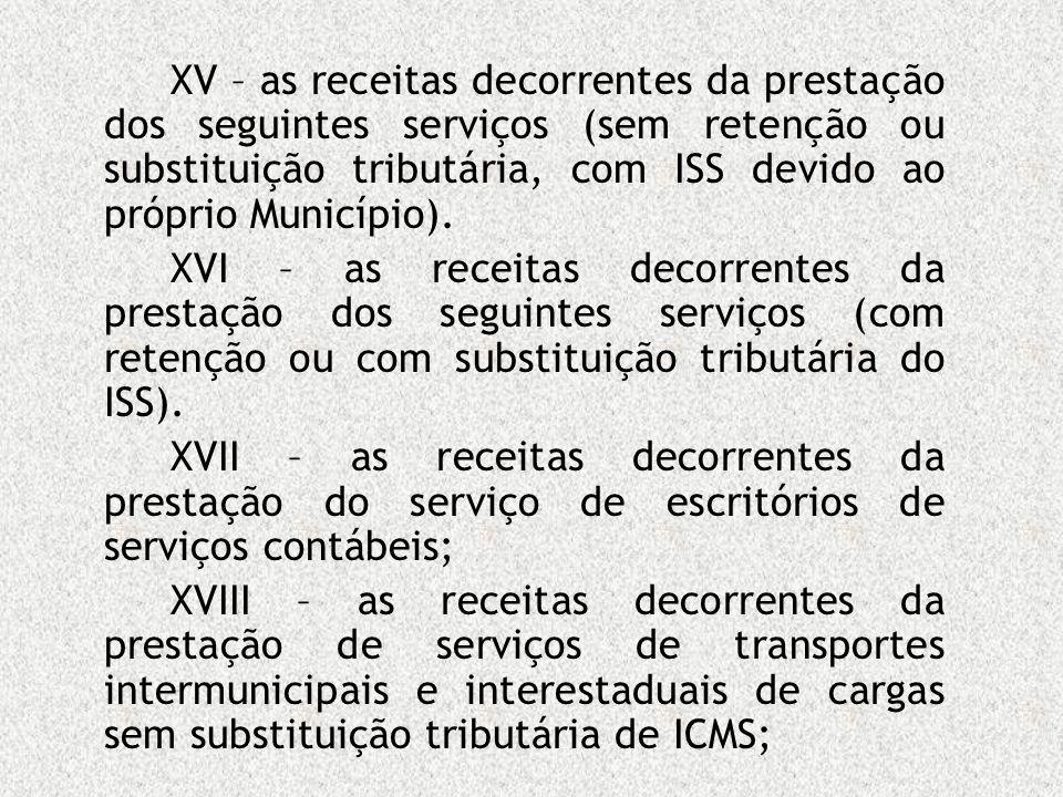 XV – as receitas decorrentes da prestação dos seguintes serviços (sem retenção ou substituição tributária, com ISS devido ao próprio Município).