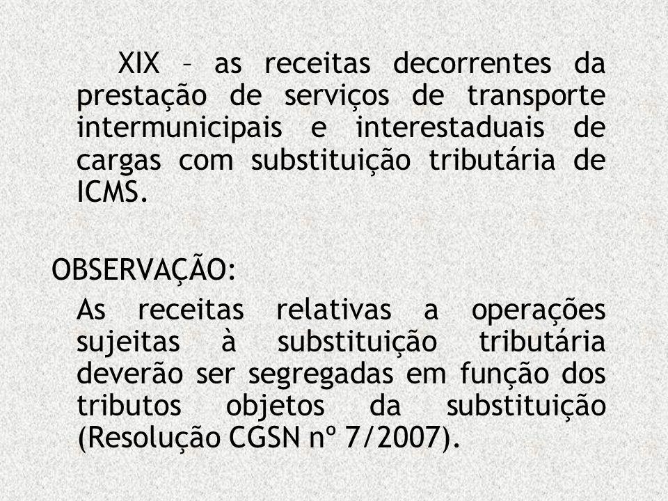 XIX – as receitas decorrentes da prestação de serviços de transporte intermunicipais e interestaduais de cargas com substituição tributária de ICMS.