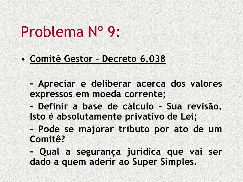 Problema Nº 9: Comitê Gestor – Decreto 6.038